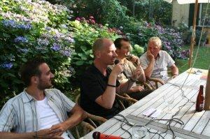 Mike De Herdt (ABVV), Sacha Vandewiele (GvA), Peter Raats (sp.a-districtsburgemeester van Berchem) en ik zelf.