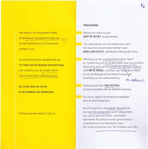 Op het Schoon Verdiep enkel spreekrecht voor de Vlaamse elite (De Wever, Karel Van Eetvelt, Kris Peeters) en lauwering van de de stichters van Argenta ('Vlaams-nationalistische' 'oude bekenden').