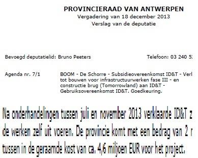De werkelijke prijs in het officiële provinciebesluit: 4 miljoen lager dan meegedeeld aan het publiek.