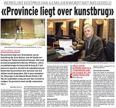 Artikel in Het Laatste Nieuws - De Nieuwe Gazet (13/12/2013)