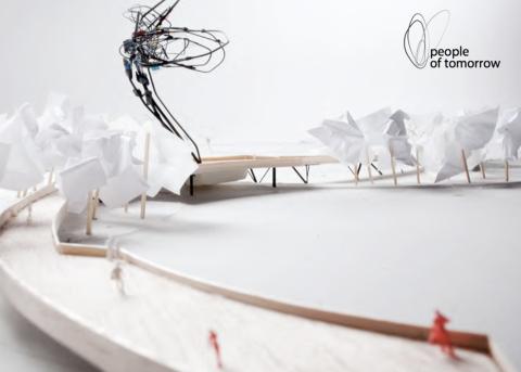 Met papieren boomkruinen op stokjes langsheen het traject ziet de brug er kunstig uit.