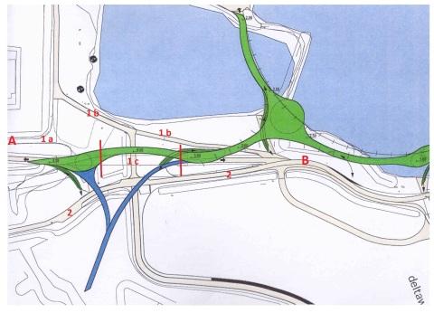 Schets van een deel van de kunstbrug in groen (zicht vanuit Oosten). De te vervangen brug beslaat slechts de 80 meter tussen de rode lijnen. Punten A en B zijn actueel ook en beter te bereiken via weg 1 aan de westzijde (a, b en verbindinsweg c onder de brug) en weg 2 aan de oostzijde.