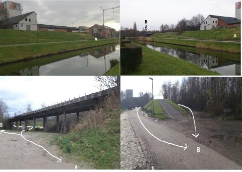De brug zorgt actueel voor een bijkomende verbinding voor voetgangers tussen punt A (gebouw De Pitte) en punt B (ingang Deltaweide). Foto 2 en 3: zicht vanuit Zuiden, foto 1 en 4 vanuit Noorden