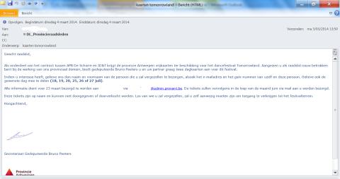 De mail met het aanbod van 2 gratis tickets voor Tomorrowland 2014 vanwege gedeputeerde Bruno Peeters (N-VA)