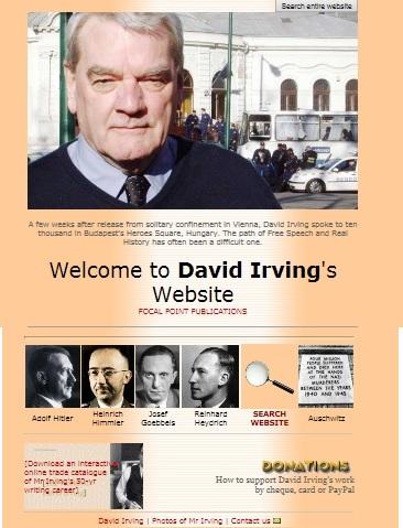 Printscreen van een deel van de homepage van David Irving. Met enkele van zijn iconen…