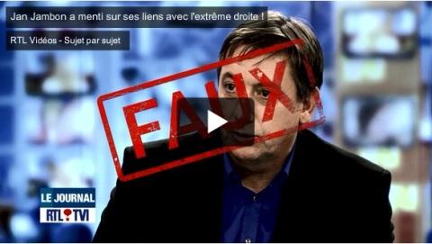 'FAUX' bovenop het gezicht van Jambon bij de onthulling van zijn leugens op RTL-tvi.