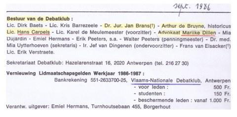 Uit het ledenblad van VNDK van oktober 1986. Van bij de aanvang domineerde het Vlaams Blok het bestuur: met Jan Brans maar ook met Marijke Dillen, Hans Carpels en Arthur de Bruyne (hoofdredacteur van 't Pallieterke).