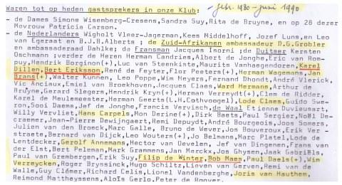 De lijst van sprekers uit de eerste tien jaren van de VNDK (1980-1990). Naast oud-topcollaborateurs (Brans, Ward Hermans, Leo Poppe) bemerken we zowel Bob Maes (van de tot ontbinding veroordeelde 'eerste' VMO) als… Bert Eriksson – 'Ja ik ben een nazi' – van de na 1970 heropgerichte 'tweede' VMO. Verder een rits Vlaams Blok-tenoren, zoals stichter Karel Dillen, Filip De Winter, Annemans … De uitnodiging van sprekers met een gewoner of soms zelfs wat progressief profiel dienden om de het extreemrechts karakter van de club te camoufleren en de VNDK meer aanvaardbaar te maken.