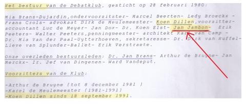 Vanaf 1994 figureert Jan Jambon aan de zijde van VNDK-voorzitter en Vlaams-Blokker Koen Dillen (zoon van...) in de lijst van bestuurders. In 1991 trad hij al eens op als moderator in de club.