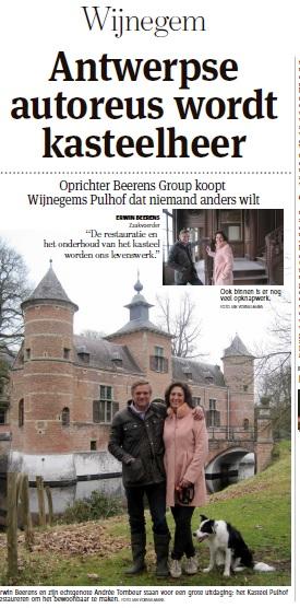 Gazet van Antwerpen meldt de verkoop van kasteel en domein (27 hectaren)  aan autogigant Erwin Beerens. Het Pulhof quasi instapklaar voor… 'een kasteelheer van de nieuwe tijd'.