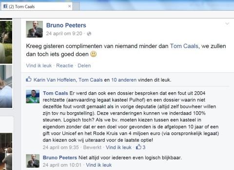 Een N-VA-gedeputeerde drukt op de Facebookpagina van Tom Caals zijn tevredenheid uit over de steun van de Groen-fractie voor onder meer de verkoop van het Pulhof.
