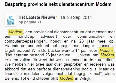 Wél naakte ontslagen bij de provincie Antwerpen, o.a. vier door de sluiting van het communicatiehulpmiddelencentrum voor gehandicapten MODEM.