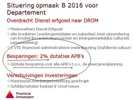 Extra besparing van 2 procent opgelegd aan 'alle' Autonome Provinciebedrijven (APB's).