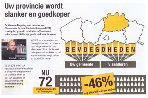 Recent N-VA-pamflet in provincie Antwerpen belooft 'daling' van de provinciebelasting. Toch waarschuwt N-VA-gedeputeerde Luk Lemmens, als VVP-voorzitter, na de regeringsverklaring voor een... verhoging