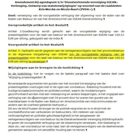 In het geel de essentie van het PVDA-amendement.