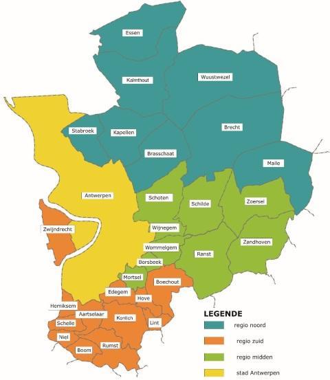 De 30 gemeentes van de provincie Antwerpen die deel uitmaken van IGEAN.